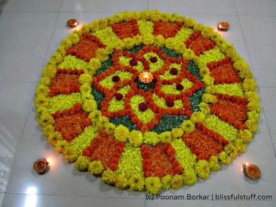 Rangoli Design with marigold flowers, How to make rangoli with flowers, Diwali Special - VIII