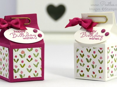 Rose Red Mini Milk Carton Tutorial using Stampin' Up! Supplies