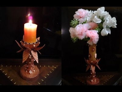 Best Out Of Waste Corrugated Cardboard transformed to Wonderful Candle or Diya Stand and Flower Vase