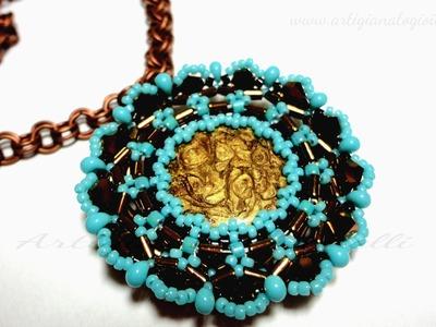 DIY Tutorial perline - Come incastonare disco madreperla - Sweet Geometries   Beads Pendant
