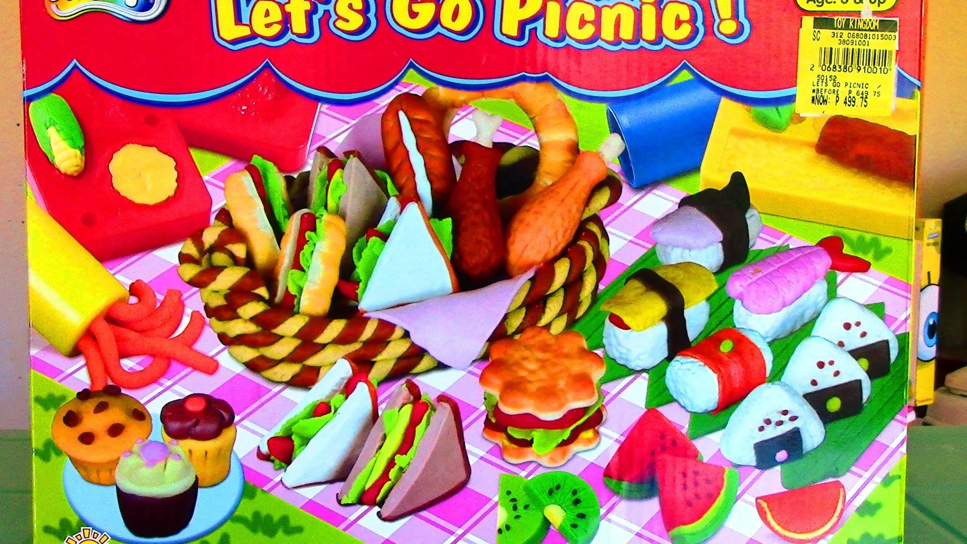 Doh-Dough Let's Go Picnic Playset Fried Chicken Hot Dog Sushi Play Dough - Like Play-Doh