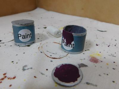 Dollhouse Miniature Paint Cans & Drop Cloth
