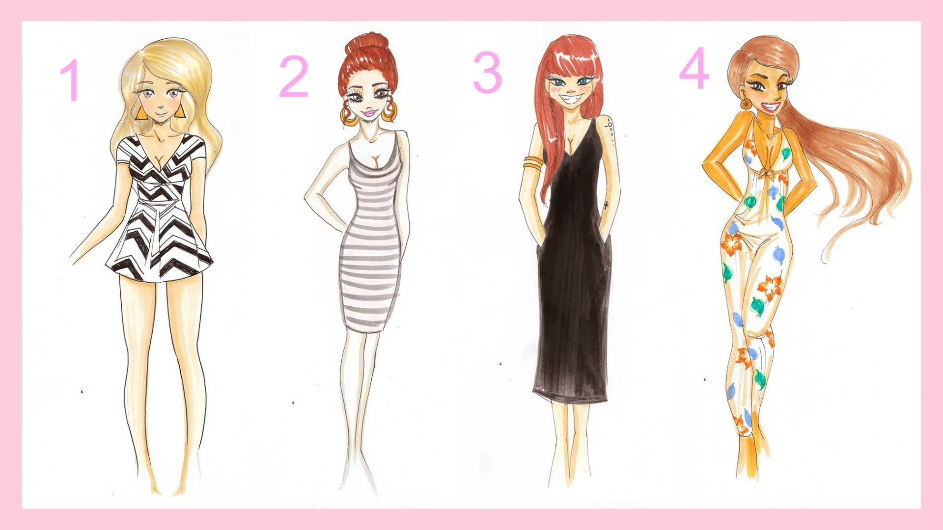 Drawing Tutorial 4 Summer Outfits ♡