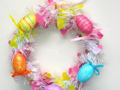 Easy to make Easter Egg Wreath (Dollar Store projects)