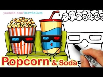 How to Draw Cartoon Popcorn and Soda step by step Easy Cute Snacks