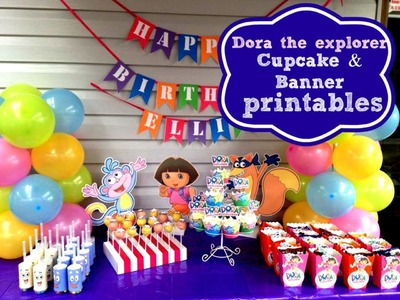 How to make Dora the explorer cupcake toppers & happy birthday banner at home with Free printables