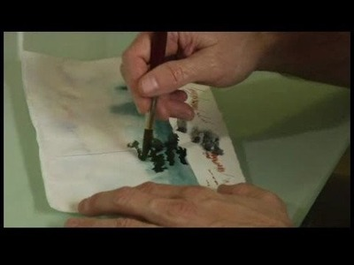 How to Paint a Snowscape Watercolor Painting : How to Paint a Tree in a Snowscape Painting