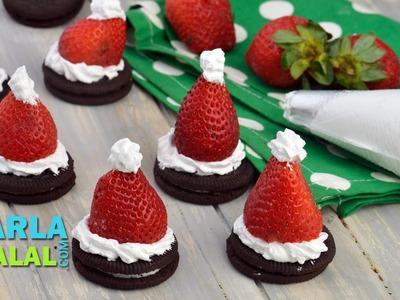 Oreo Cookie Santa. Christmas Recipe. Very Quick Kids Dessert by Tarla Dalal