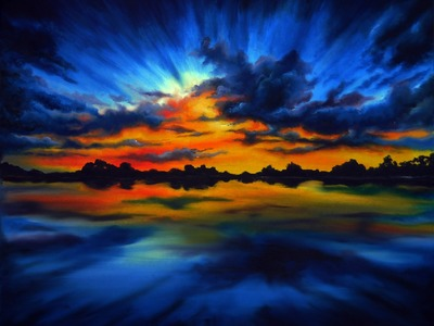 "Painting sky in oil with Svetlana Kanyo.""Sunset in Blue"""