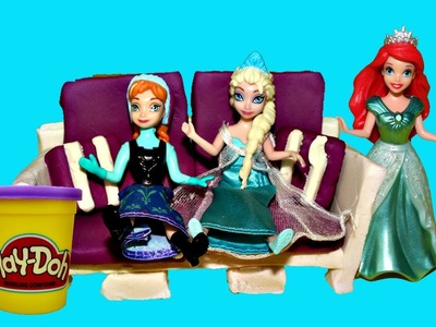 Play Doh Doll COUCH Tutorial Elsa, Little Mermaid Ariel & Frozen Princess Anna Sofa DisneyCarToys