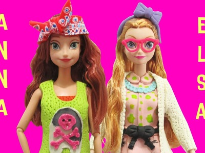 Play Doh Elsa and Anna  Project MC2 Dolls Adrienne, Camryn Inspired Costumes