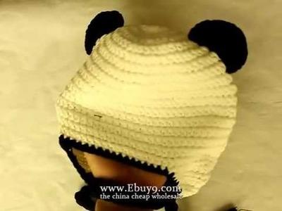 Baby panda earmuffs ear flap crochet cap