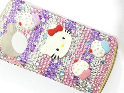 Bling Hello Kitty Cupcake Decocase.DIY TUTORIAL DECODEN