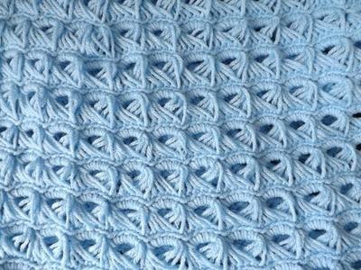 Crochet Baby Blanket (Broom Stick Stich).