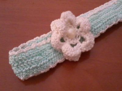 Fiore fascia uncinetto (flower crochet band)