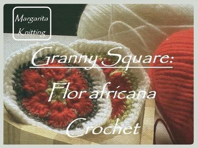 Granny Square: flor africana (diestro)