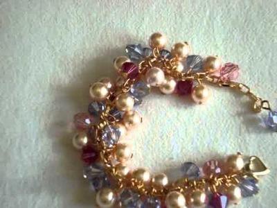 Swarovski crystal provence lavender and peach pearl bracelet