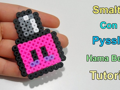 "Tutorial Smaltino con Pyssla ""Hama Beads Kawaii Nail Polish"""