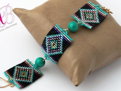 Video creazioni #33: Bracciale e orecchini con perline - square stitch, herringbone, raw