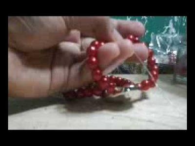DIY double strand strectchy pearl bracelet