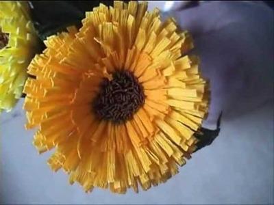 Fiori di carta crespa - Crepe paper flowers: Calendula. Calendula. Календула