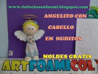 ANGELITO EN FOAMY O GOMAEVA CON CABELLO EN NUDITOS Y MOLDES