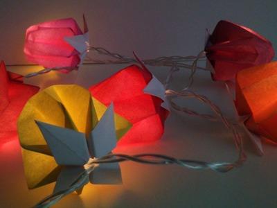 "HD. TUTO: Faire des ""lampions"" en origami pour une guirlande - Make ""lanterns"" origami for garland"