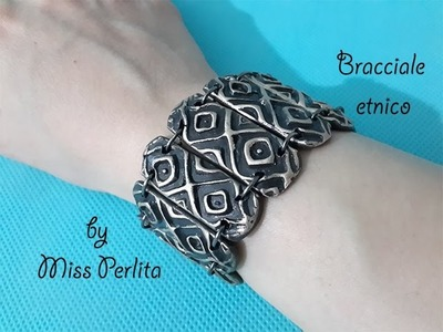 Pasta polimerica. Polymer clay tutorial: bracciale etnico. ethnic bracelet