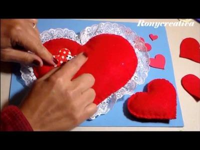SAN VALENTIN CORAZONES DE FIELTRO. VALENTINES DAY FELT HEARTS DIY