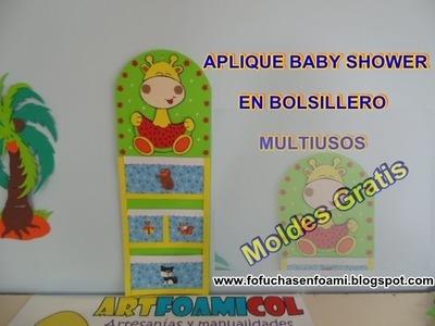 APLIQUE BABY SHOWER CON BOLSILLERO EN FOAMI CON MOLDES