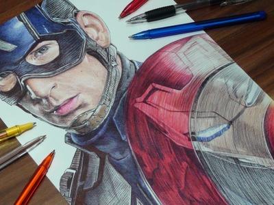 Captain America Ballpoint Pen Drawing - Civil War - DeMoose Art