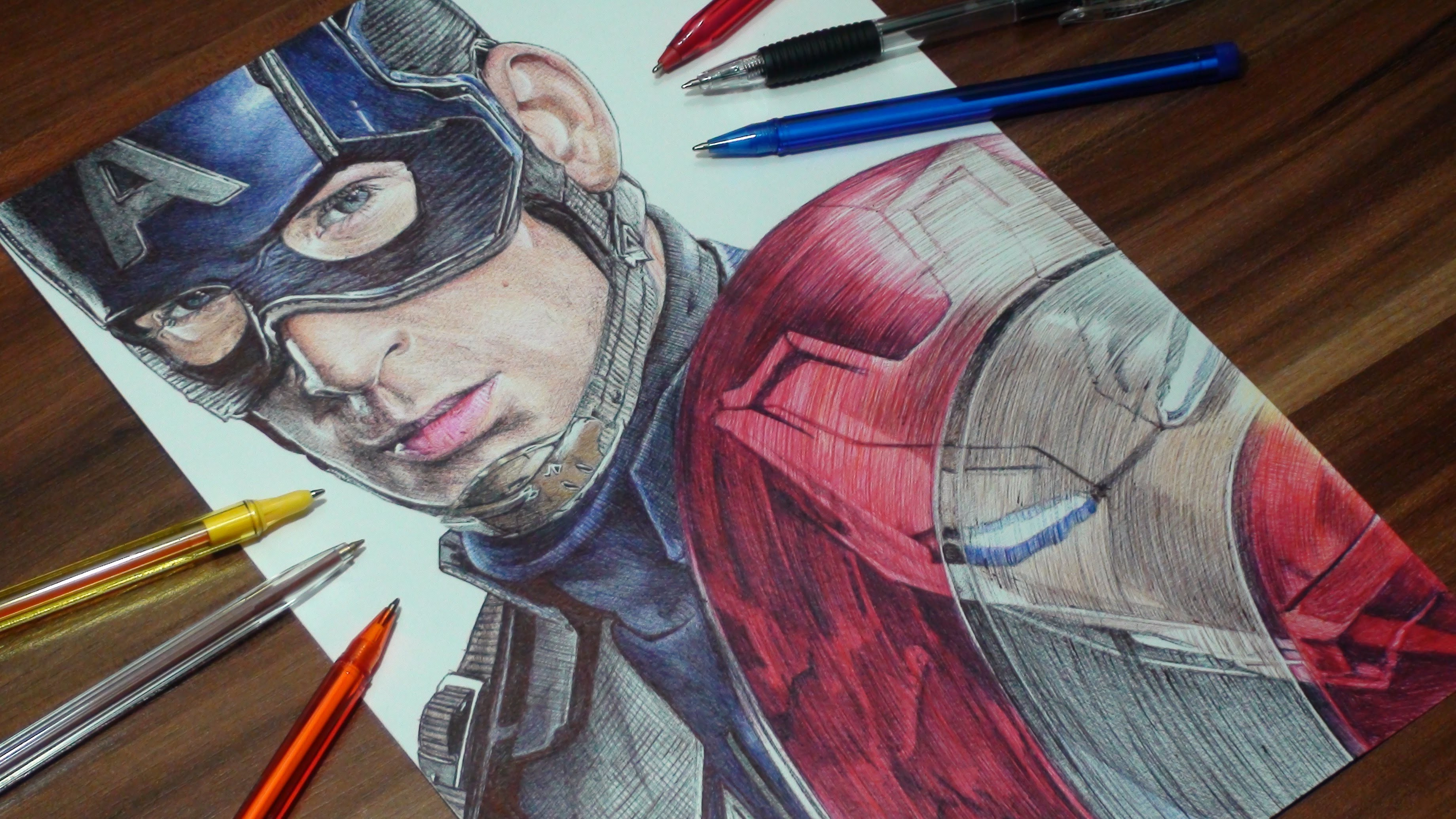 Learn How To Draw Falcon From Captain America Civil War: Captain America Ballpoint Pen Drawing