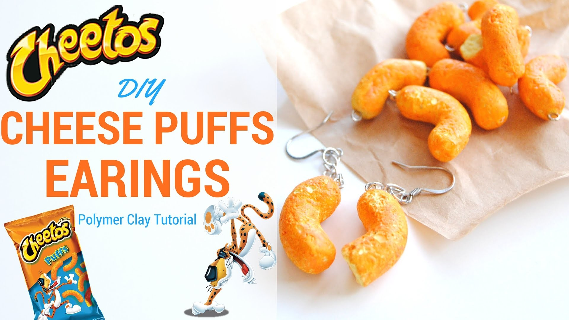 Cheetos Cheese Puff Polymer Clay Earings