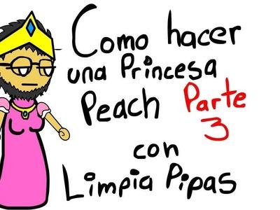 Como hacer a la princesa Peach con limpiapipas Parte 3