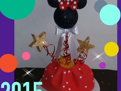 DIY CENTRO DE MESA DE MINNIE  MOUSE