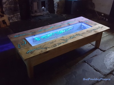 DIY Pallet Coffee Table - Glow in the dark wood projects with  Lichtenberg