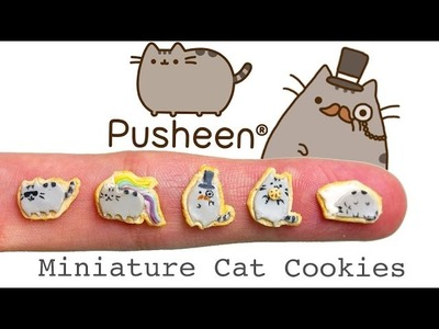 Miniature Pusheen Inspired Cat Cookies from Polymer Clay. Fimo Tutorial