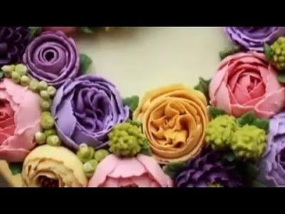 Tutorial Butter Cream Cake Flower Decoration