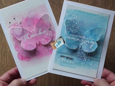 Watercolor inlay die cuts + Bold Butterfly  Stampin Up