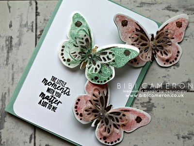 Watercolour wings Stampin Up latch card with action wobble spring