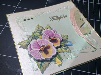 3D decoupage flower card