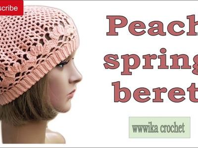 Crochet beret pattern easy Peach spring beret part 2 #crochet_beret #crochet_beret_pattern