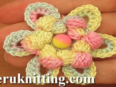 Crochet Cluster Stitch Center Flower Tutorial 96