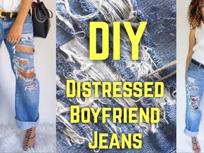 DIY DISTRESSED BOYFRIEND JEANS ( UNDER $10 )