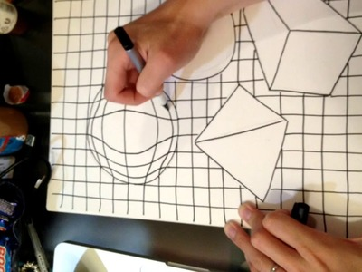 Hand drawing gridlines for geometric shapes