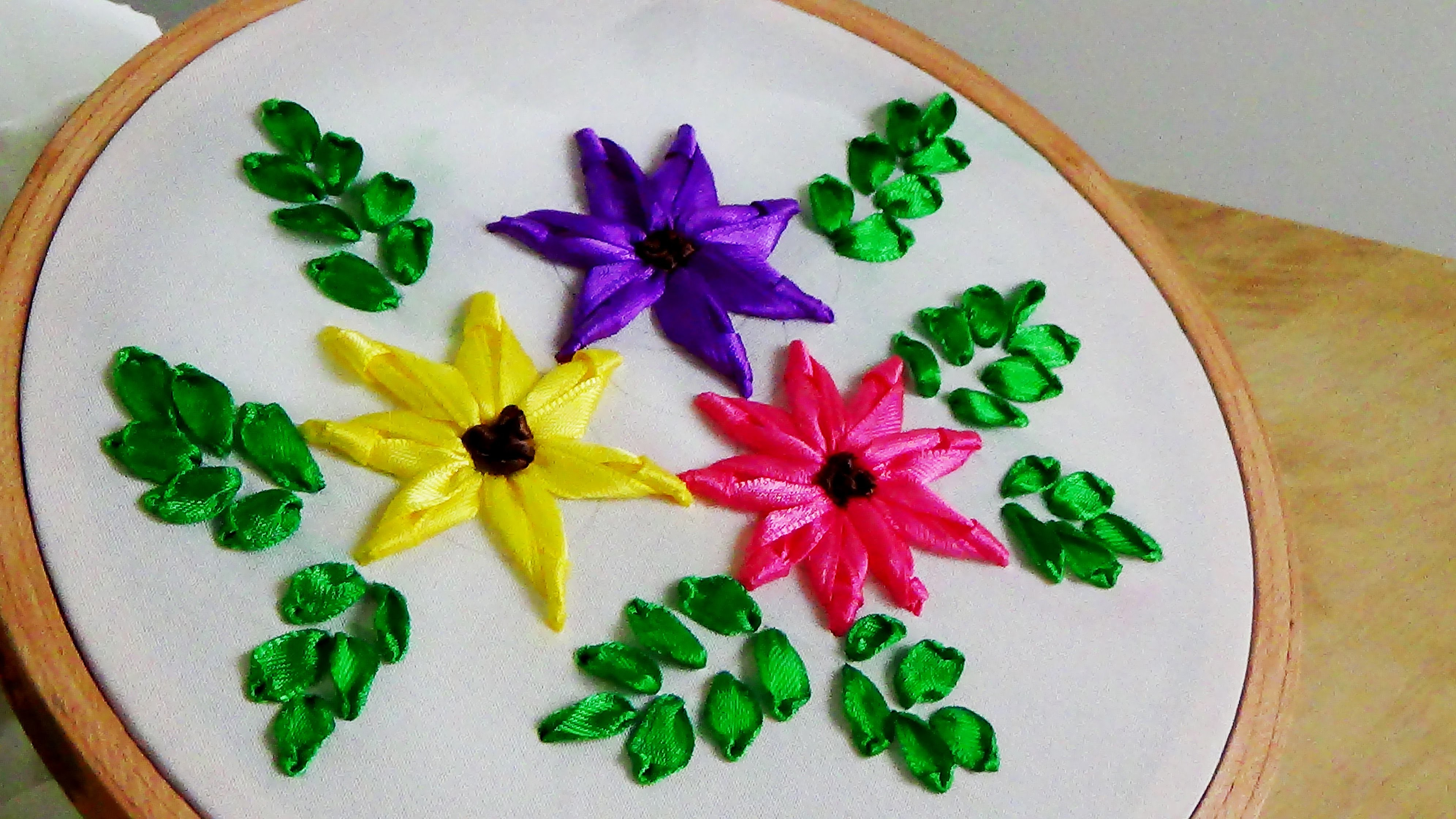 Hand embroidery ribbon flower my crafts and