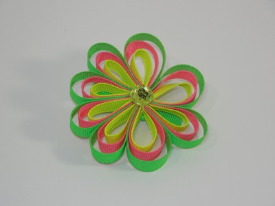 How To Make A Loopy Ribbon Flower Hair Bow.Clip