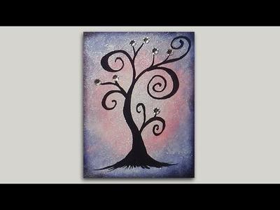 Mini Acrylic Painting - Whimsical Tree Silhouette - #ColorOfTheYearArt