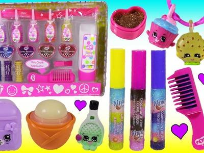 POP Beauty CASE! SHOPKINS Season 5 Charms! Dippin Dots Lip Gloss Hair Chalk EOS Lip Balm! Squishies!