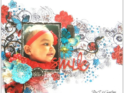 """""""Smile"""" By Di Garling - Using stamps & watercolours to create a background"""